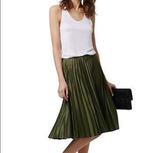 Topshop green pleated silky midi skirt